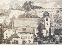 Kirchenschiff um zwei Fenster verlängert und Haus Maria